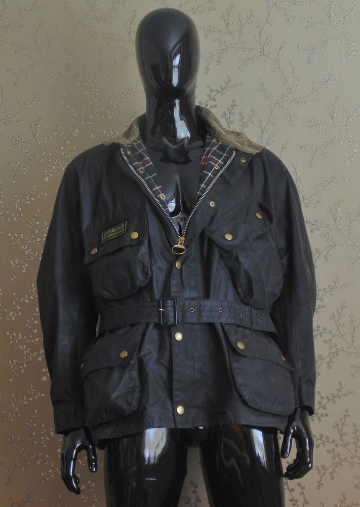 Barbour International A7 Wax Jacket Motorcycle Coat
