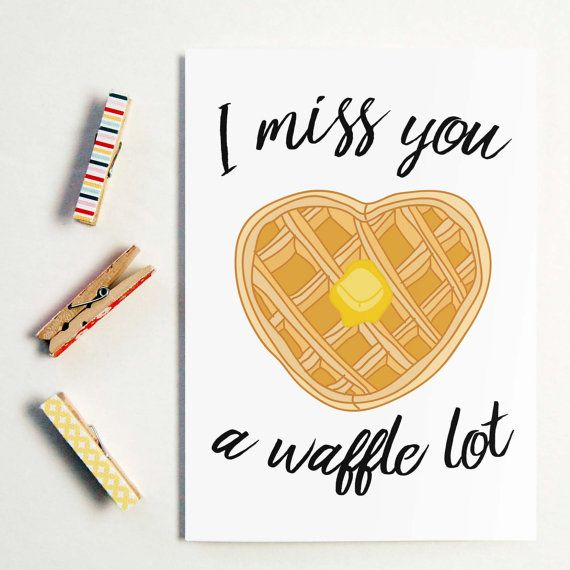 I miss you a waffle lot long distance boyfriend gift boyfriend food puns and cards just go together long distance relationship greeting cards available at byseaandsky m4hsunfo