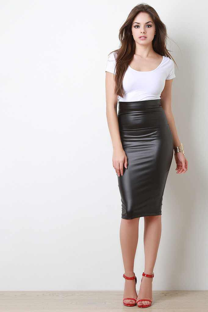 a69a4d1a79 Vegan Leather Midi Pencil Skirt www.trendyblvd.com