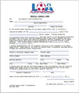 Sports Medical Consent Form Download At HttpWwwTemplateinnCom