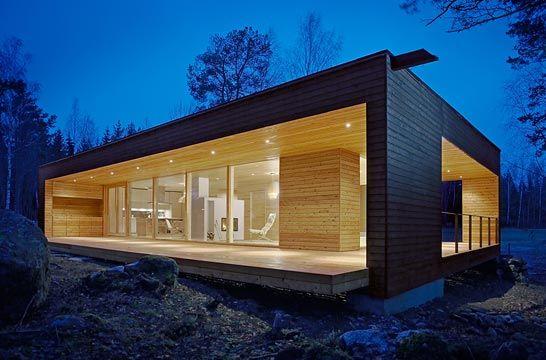 Maison contemporaine bois, toit plat, design scandinave ...