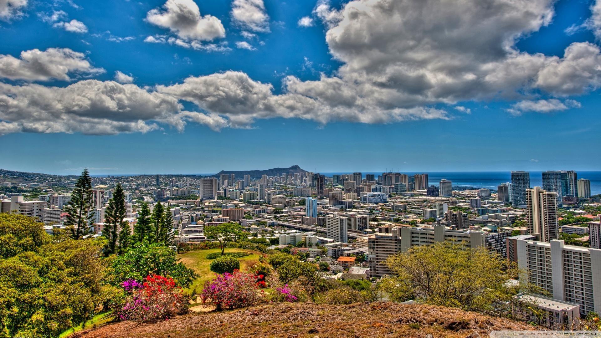 Honolulu Hawaii Wallpaper Hd Panoramic View Of Honolulu Hawaii Hdr Wallpaper Honolulu Hawaii Honolulu Panoramic Views
