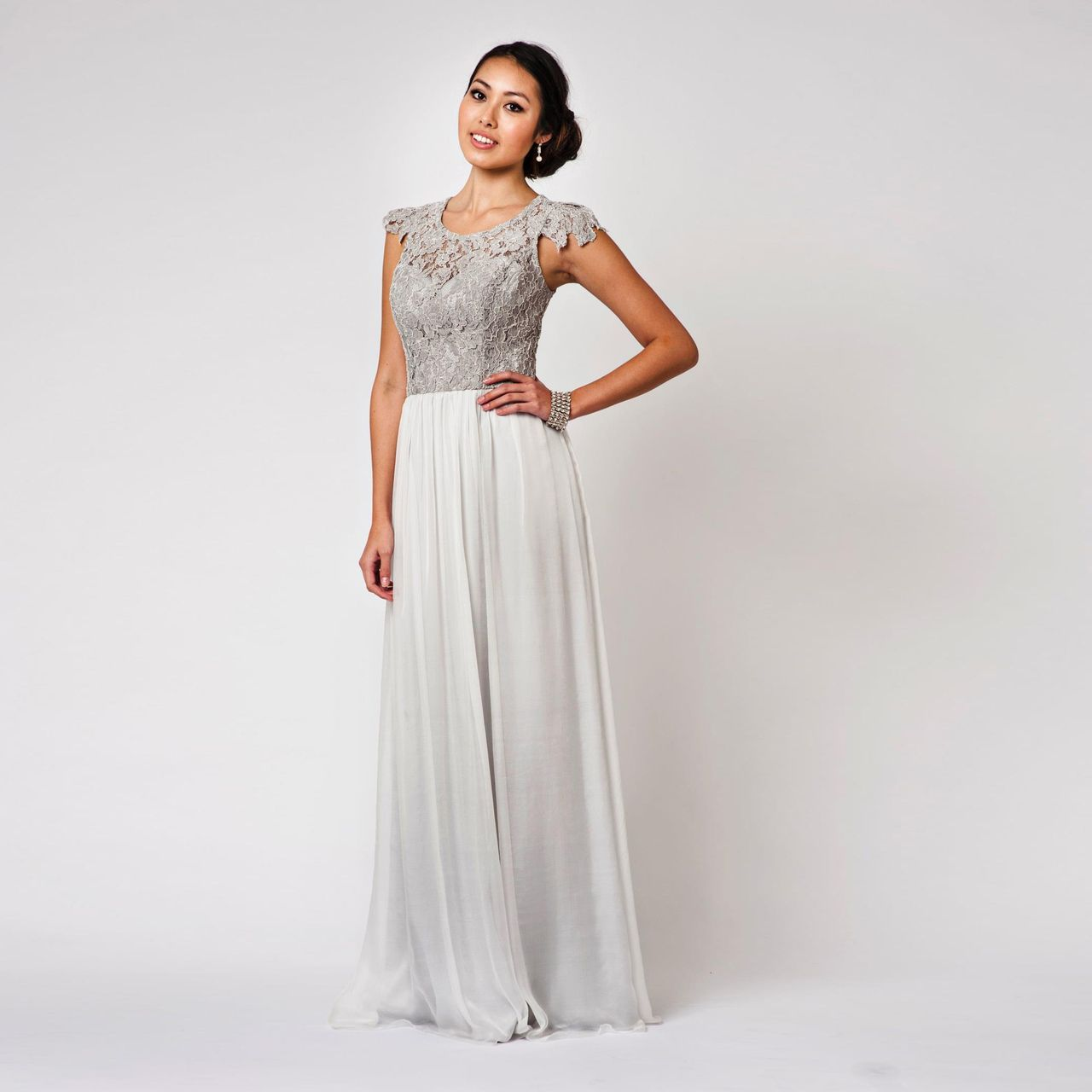 Tania olsen latitia silk dress grey in size 6 wedding long fashionably yours latitia grey laced silk bridesmaid dress 39900 http ombrellifo Images