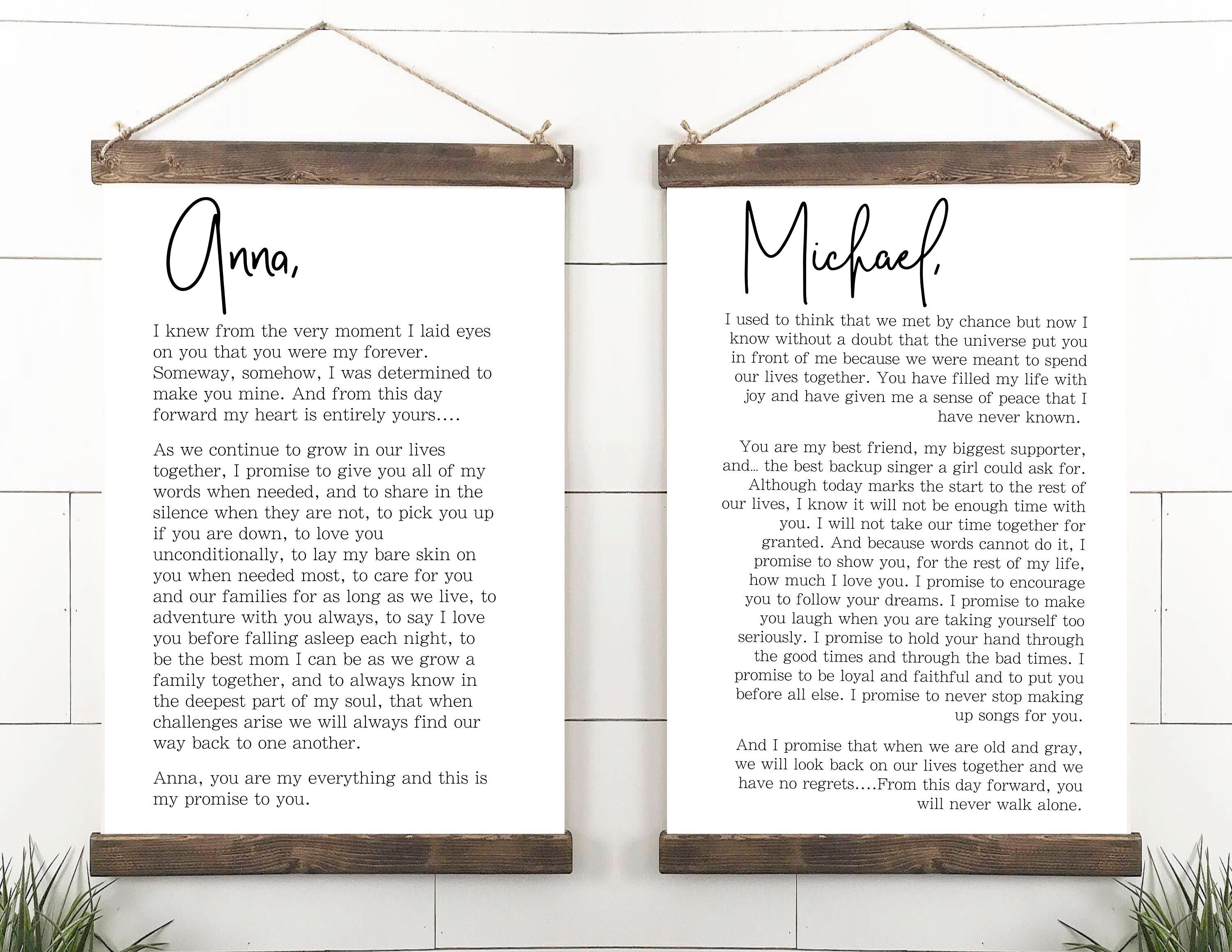 Wedding Vows Sign His And Her Customized Vows Wedding Vow Etsy Master Bedrooms Decor Wall Art Master Wall Decor Bedroom