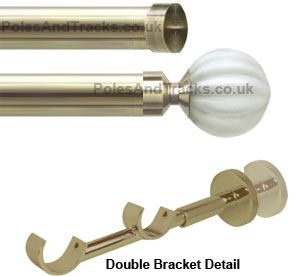 Italia 28mm 28mm Bianco Antique Brass Double Curtain Pole