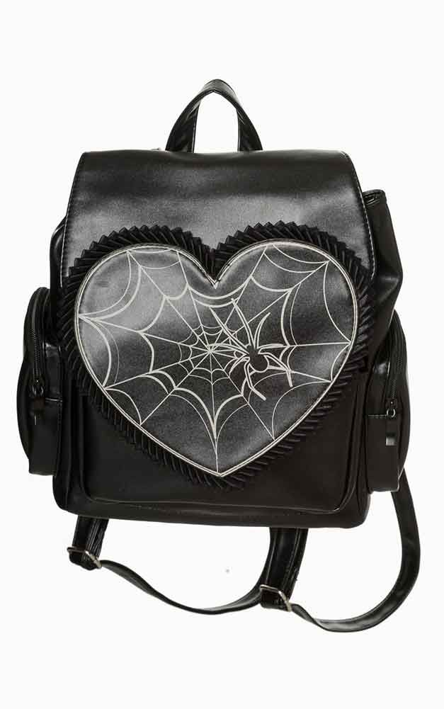 Banned Rockwell Backpack Awesome faux leather backpack from Banned! The  gorgeous Rockwell bag features a heart shape flap, with a bone white spider  web ... 2e8fe0a0bd