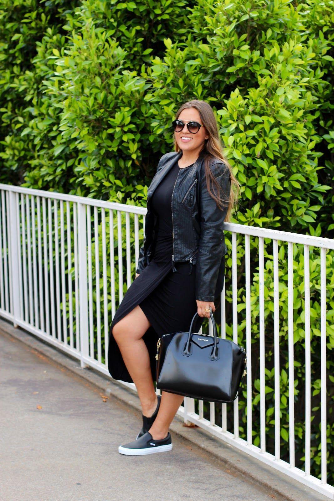 Van slip ons with ASTR dress and BlankNYC leather jacket