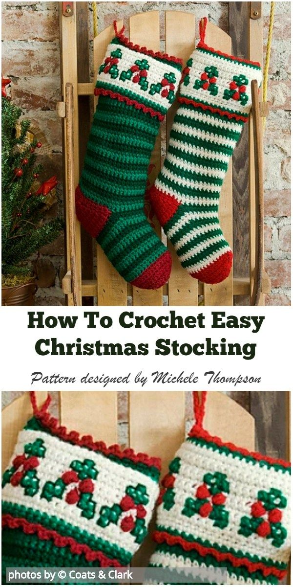 How To Crochet Easy Christmas Stocking #crochetchristmas #christmasstocking #howtocrochet #christmascrochetpatterns