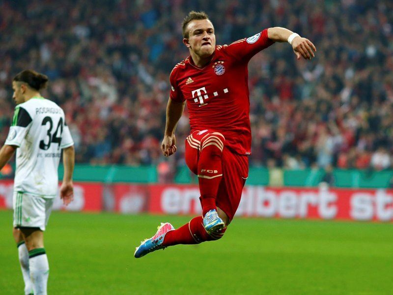 Xherdan Shaqiri Scoring The 3rd Of 6 Goals For Bayern Munich Against Vfl Wolfsburg Bayern Would Go On To Win 6 1 Vfl Wolfsburg Man Of The Match Soccer News
