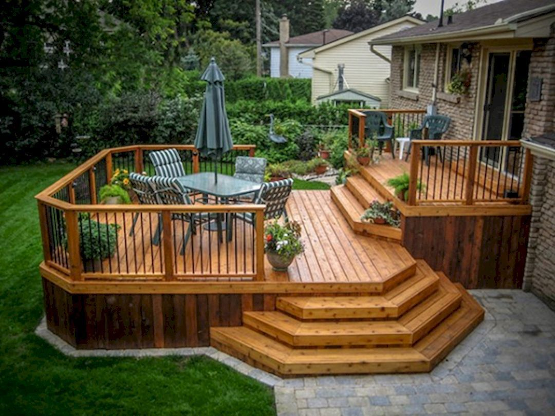 Cool backyard deck design idea 19 backyard deck designs for Outside decking material