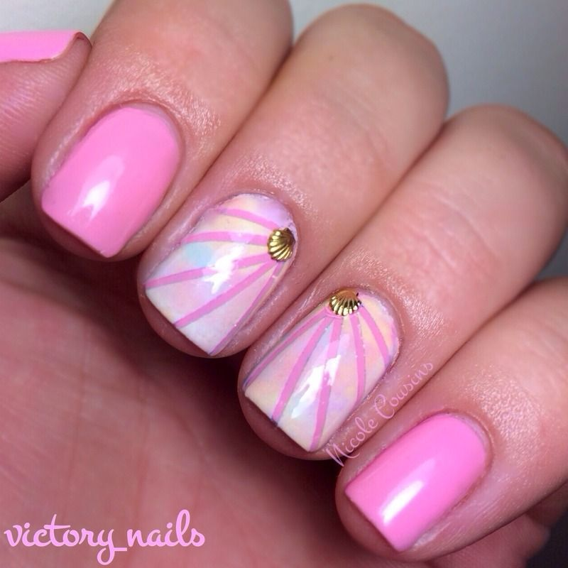 Pastel Shell Accents By Nicole Cousins Pretty Nail Art