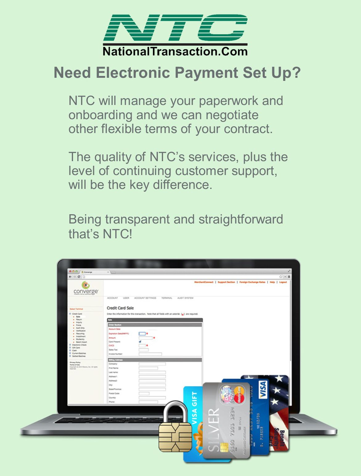 Need Electronic Payment Set Up? Credit card, Payment