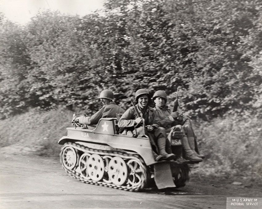 A new type of GI transportation, inaugurated by our paratroops when first landed in France.