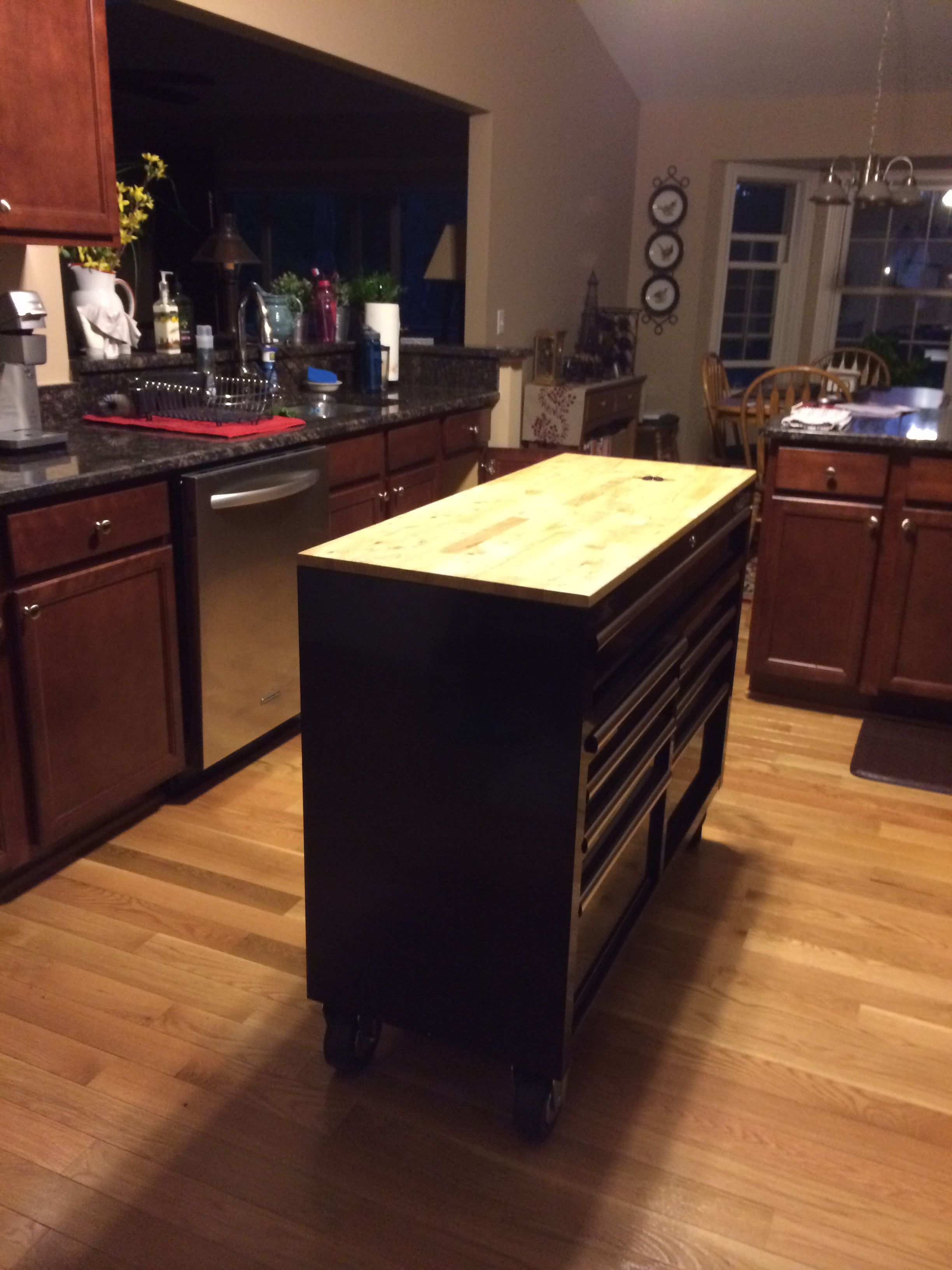 A black steel tool chest as a kitchen island. Awesome!