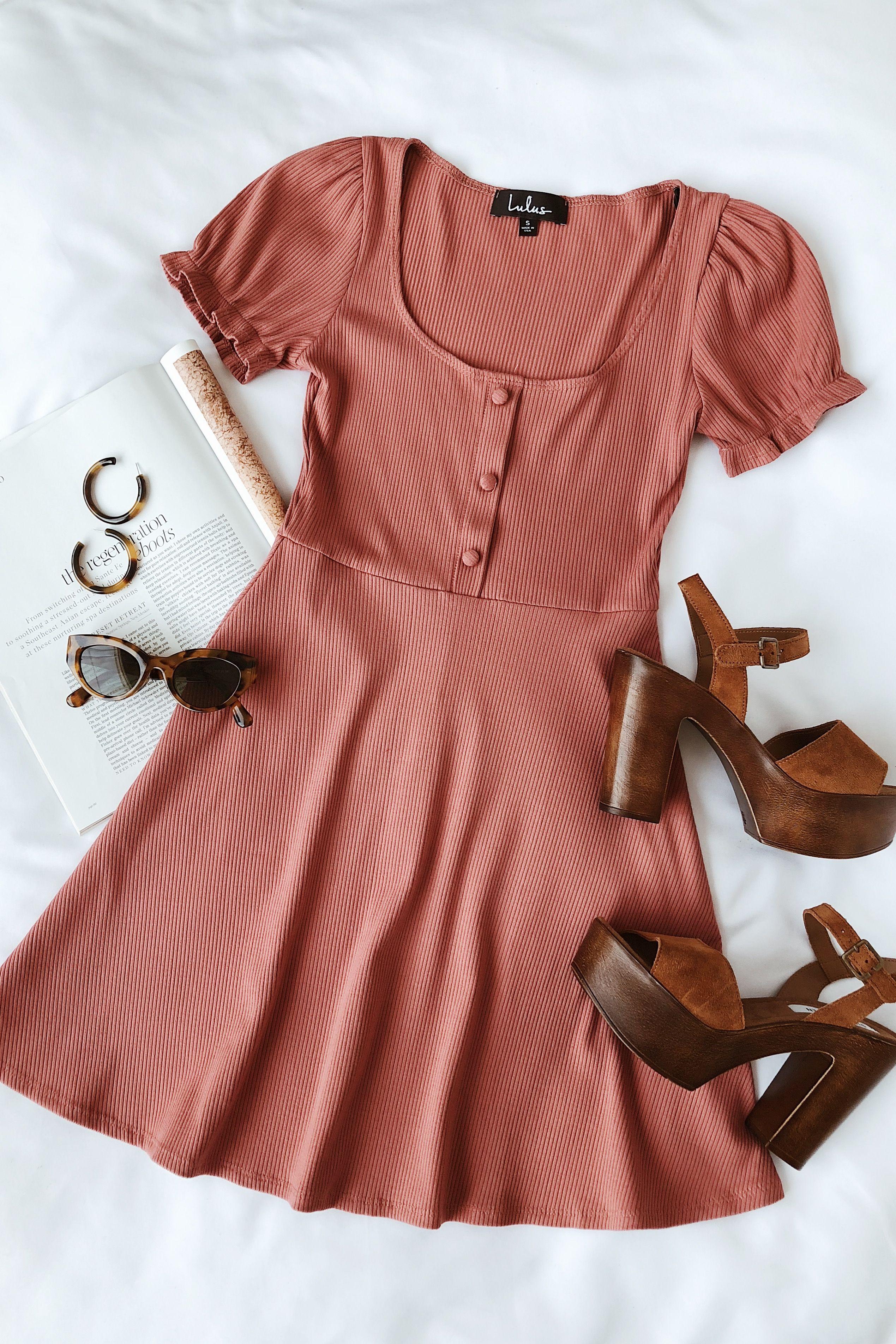 Hopscotch Rusty Rose Ribbed Short Sleeve Skater Dress