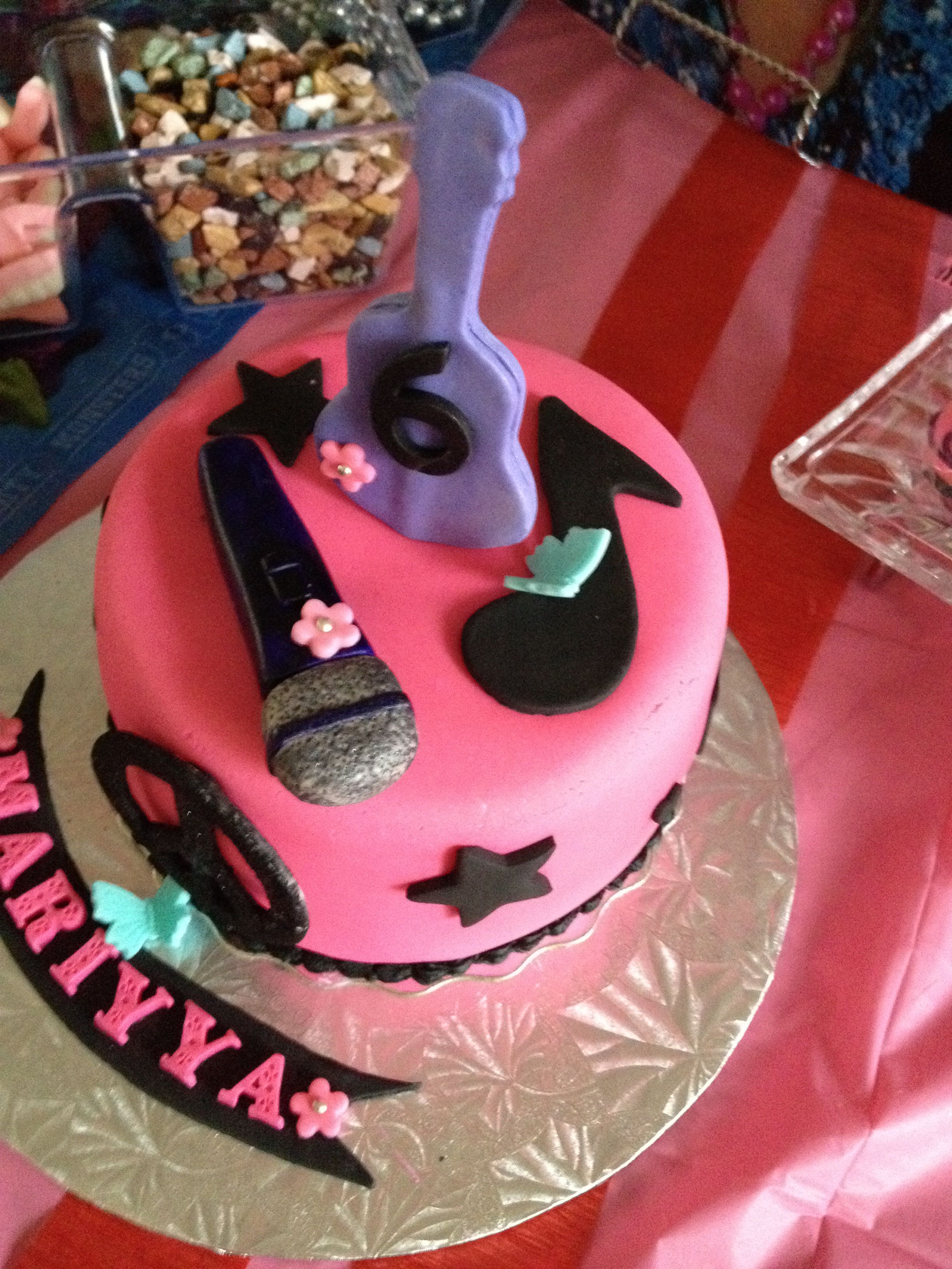 Rock N Roll Cake For A 6 Year Old Girl 3 Cakes Pinterest