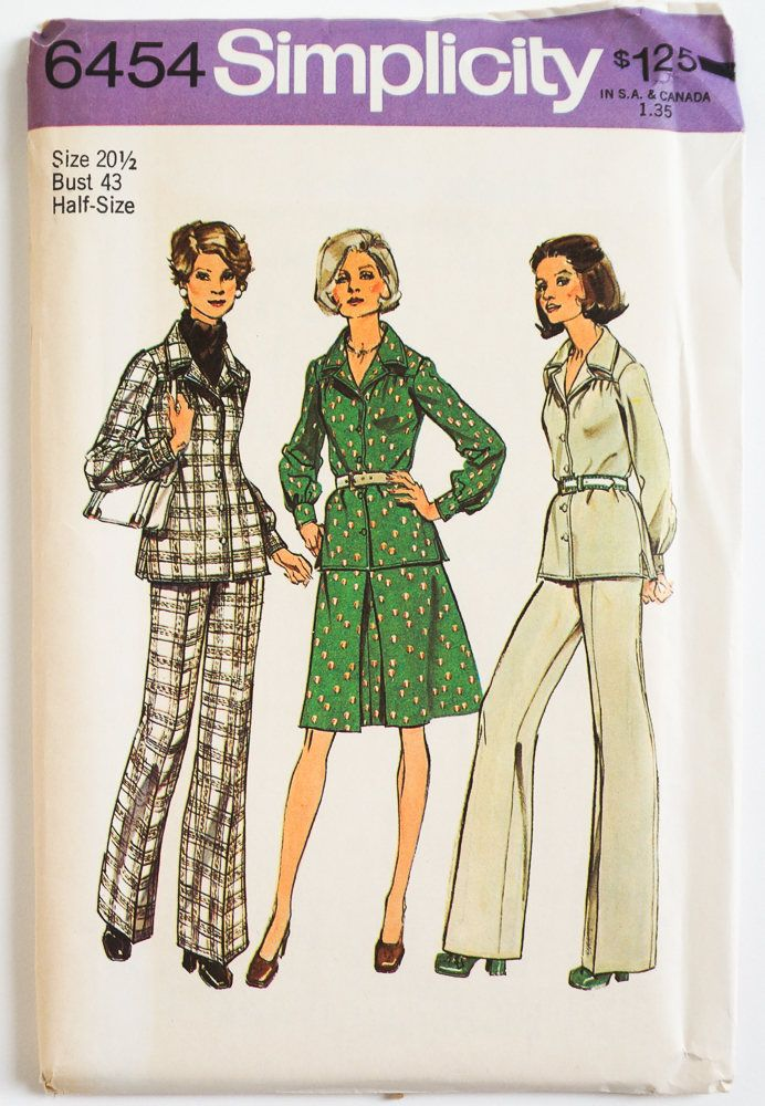 Vintage 1970s Womens Size 20.5 Two Piece Dress or Top and Pants Simplicity Sewing Pattern 6454 FACTORY Folds / b43 w37.5 by AttysVintage on Etsy