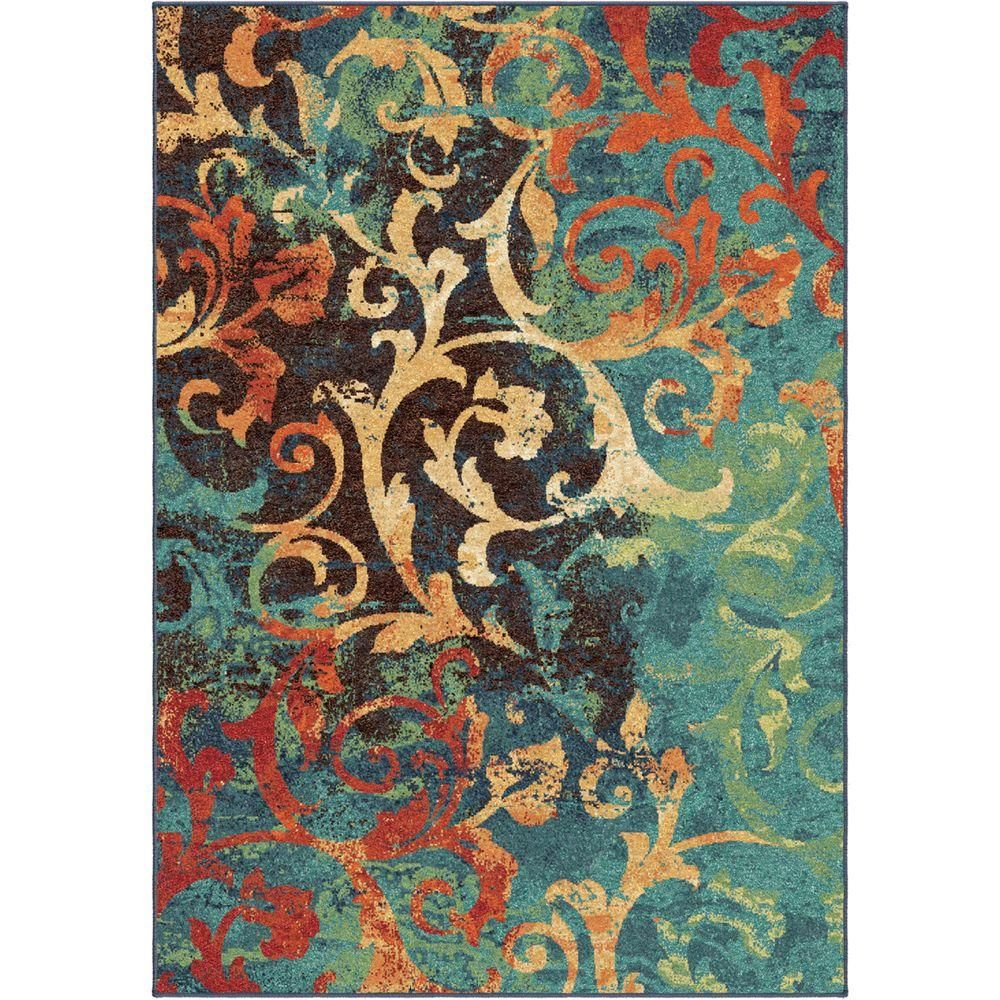 Watercolor Scroll Multi Bright Colors 6 Ft 7 In X 9 8 Indoor Area Rug