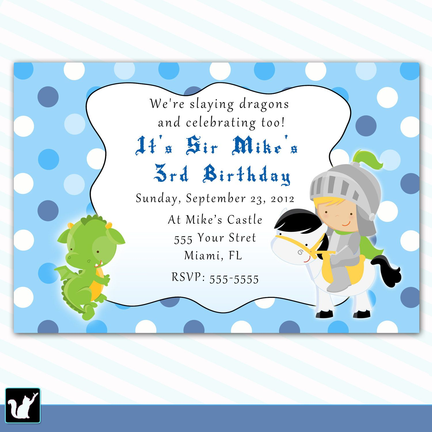 Knight Birthday Invitation For Boy - Dragon Printable Personalized ...