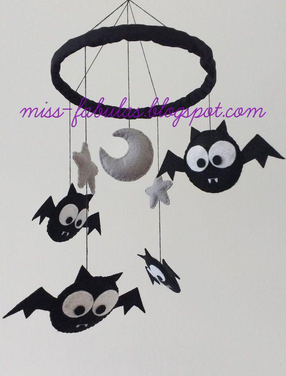 Decorative baby cot cradle crib mobile black grey bats moon and ...