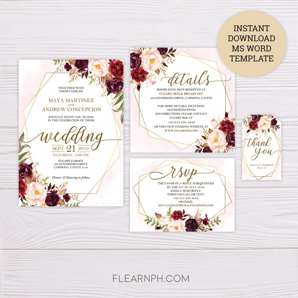 Marsala Flowers With Gold Frame Wedding Invitation Suite Ms Word Temp Wedding Invitations Labels Modern Wedding Invitation Wording Wedding Invitation Templates