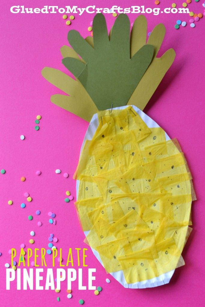 Paper plate pineapple kid craft summer crafts for Easy paper plate crafts