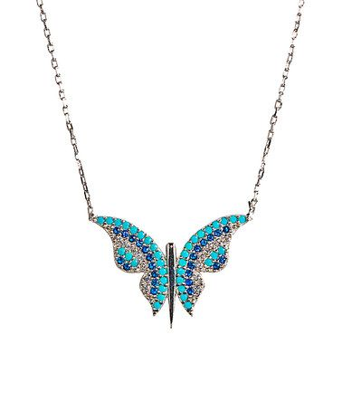 Look what I found on #zulily! Turquoise & Royal Blue Cubic Zirconia Butterfly Necklace #zulilyfinds