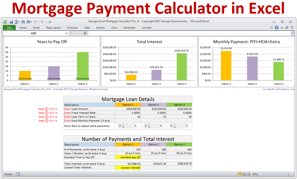 Georges Excel Mortgage Calculator Pro V4.0. Mortgage Payment ... Good Ideas