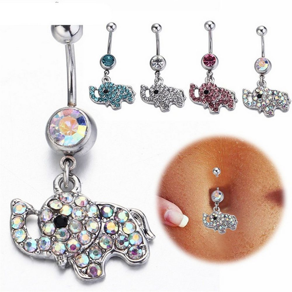 What is body piercing  Surgical Steel Crystal Elephant Dangle Navel Belly Ring Piercing G
