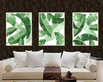 Banana Leaves Art Print Green Tropical Leaf Wall Decor Botanical Watercolor Poster