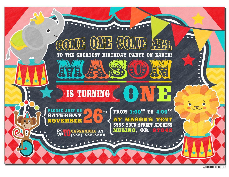 Circus Birthday Invitation, Carnival Birthday Party, Big Top ...