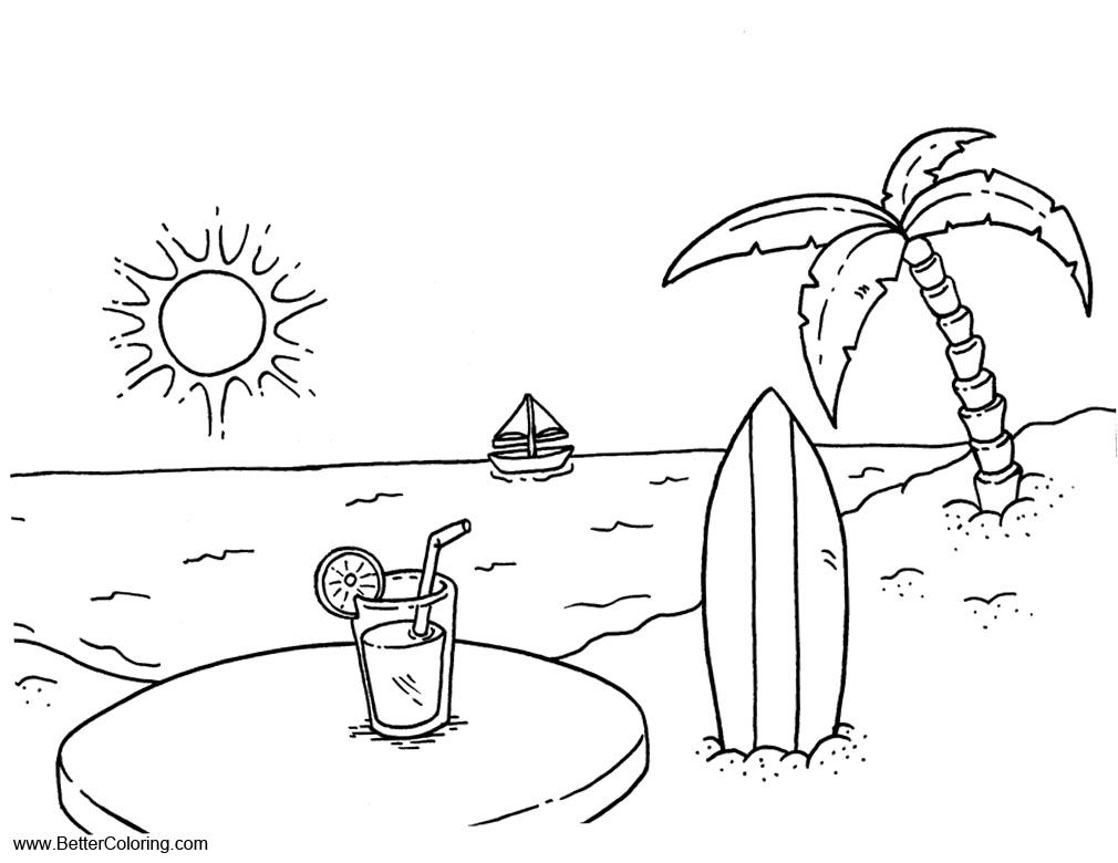 Beach Coloring Page Beach Coloring Pages Summer Coloring Pages Cool Coloring Pages