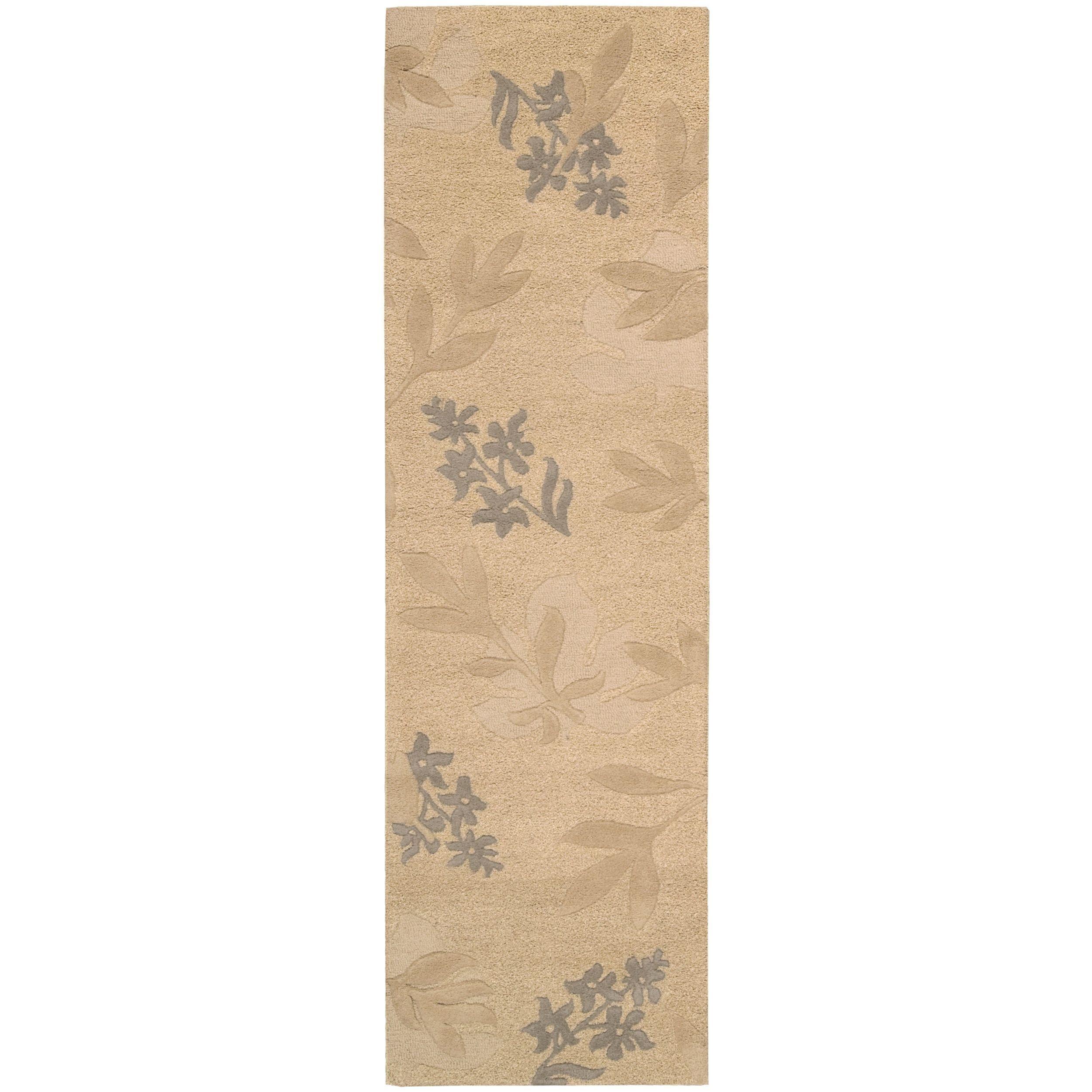 Nourison Hand-tufted Skyland Gold All Over Leaf Rug (2'3 x 8') (Wool, Floral)
