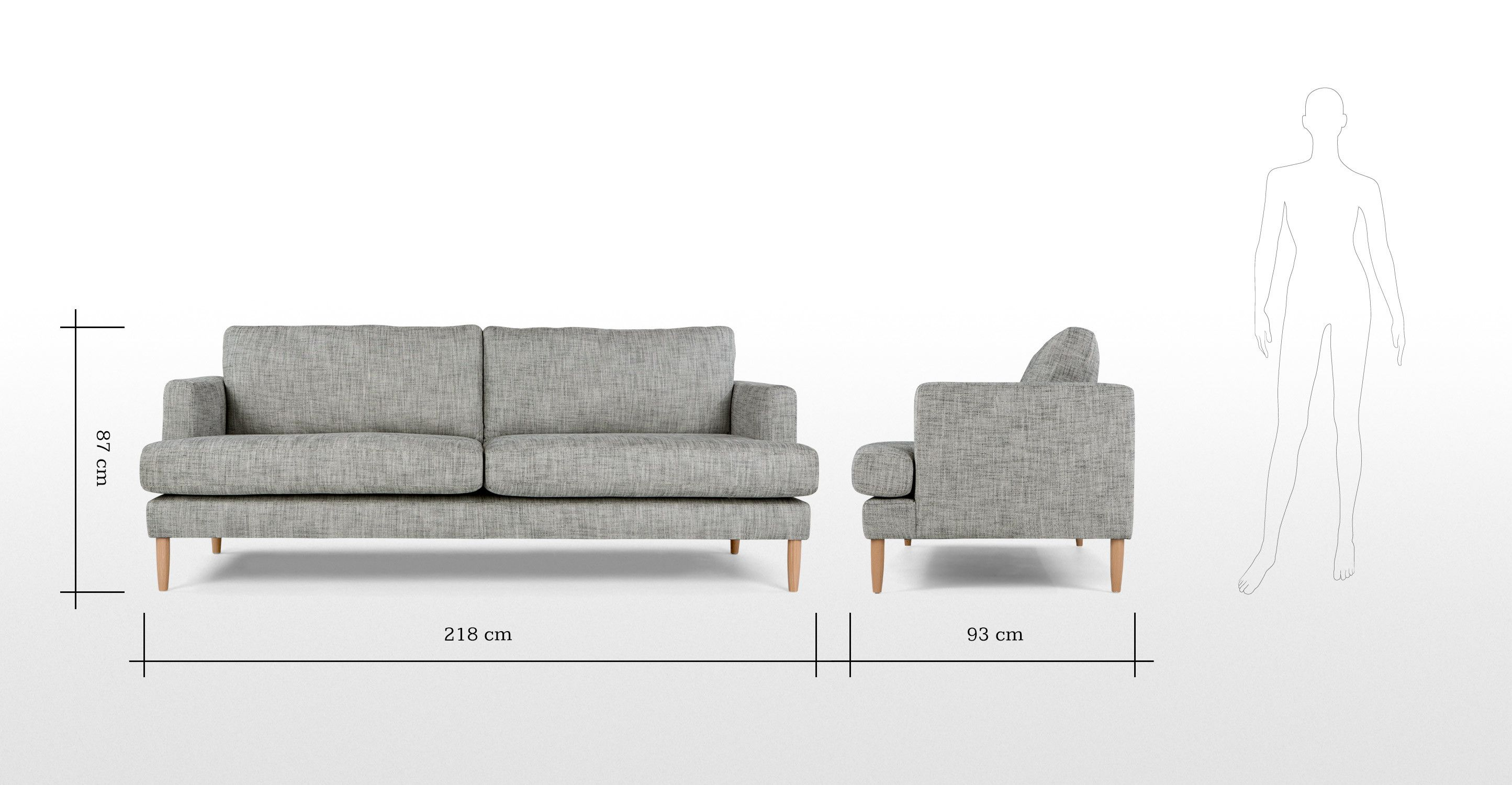 Wolseley 3 Seater Sofa Wolf Grey made