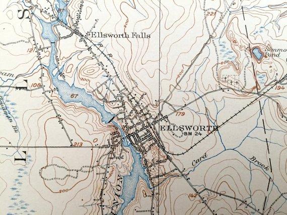 Antique Ellsworth Maine Before Lake Graham Was Created 1911 Us