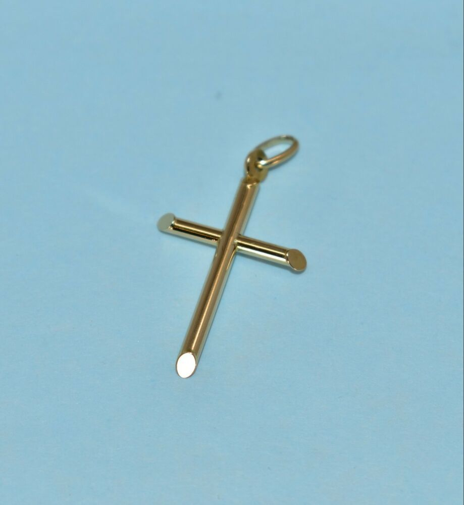 Sterling Silver Polished Gold Overlay Italian Crucifix Cross Pendant