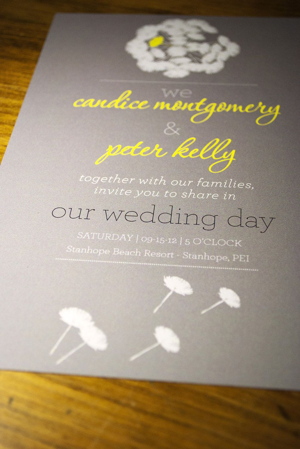 Wedding Invitation Grey and Yellow Floral by nvcreative on Etsy