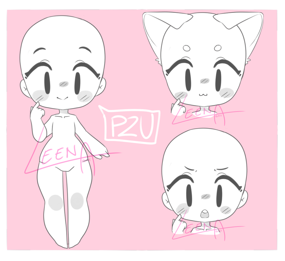 P2u Cute Base By Leena Black On Deviantart Cute Cartoon Drawings Drawing Base Chibi Sketch