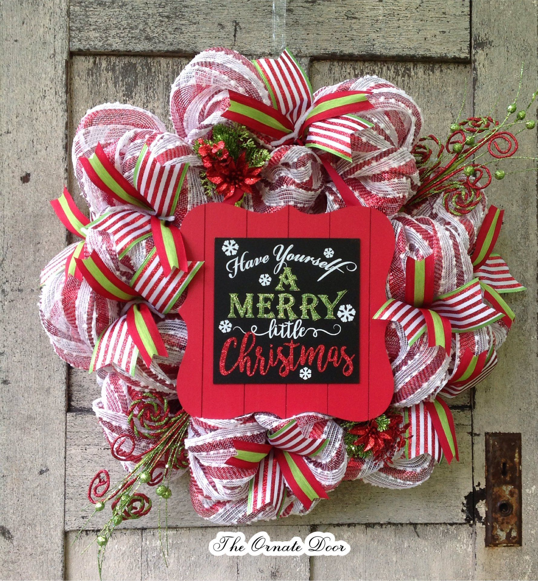 Christmas Wreath Deco Mesh Signs Red And White