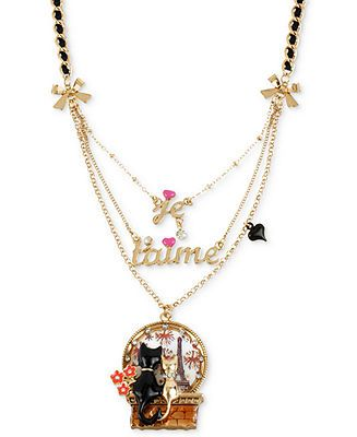 Betsey Johnson Necklace, Antique Gold-Tone Je T'aime Cat Pendant Necklace - Fashion Jewelry - Jewelry & Watches - Macy's