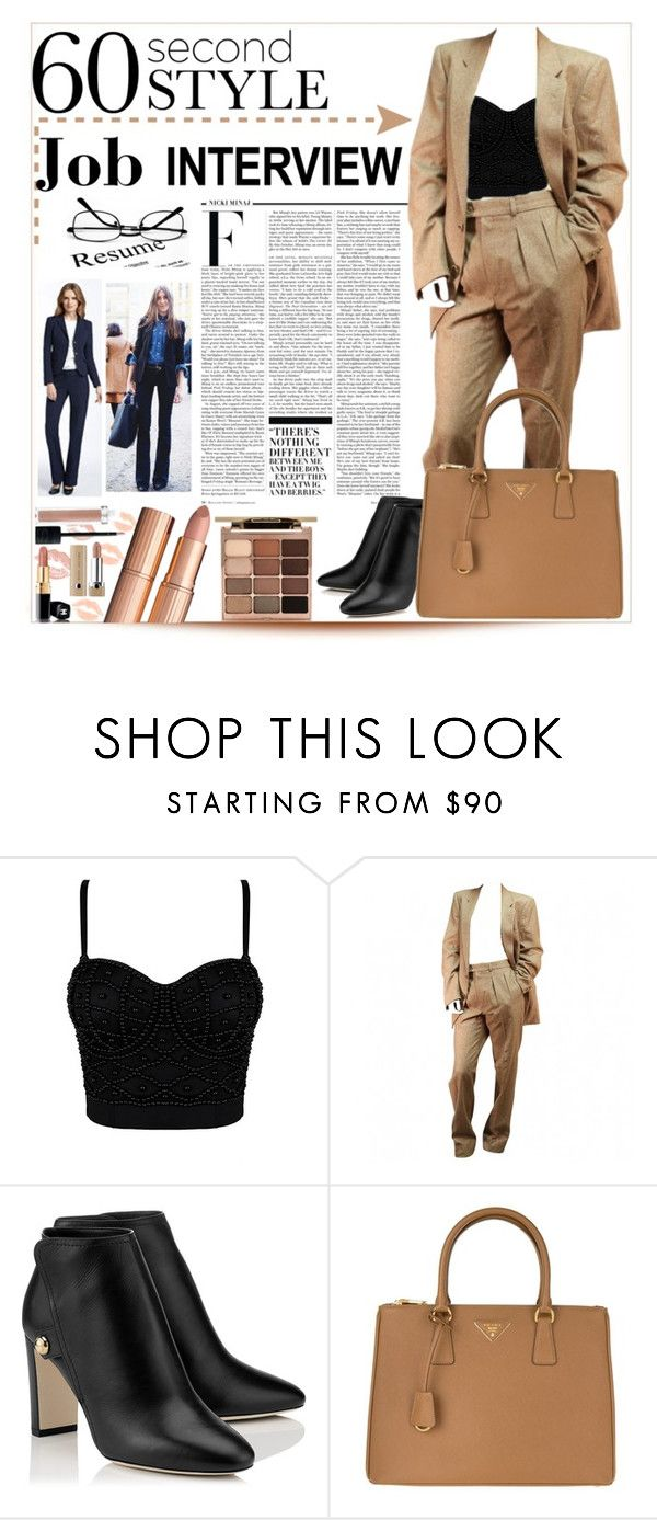"""60-Second Style: Job Interview"" by purplerose27 ❤ liked on Polyvore featuring Nicki Minaj, Yves Saint Laurent, Prada, Stila, jobinterview and 60secondstyle"