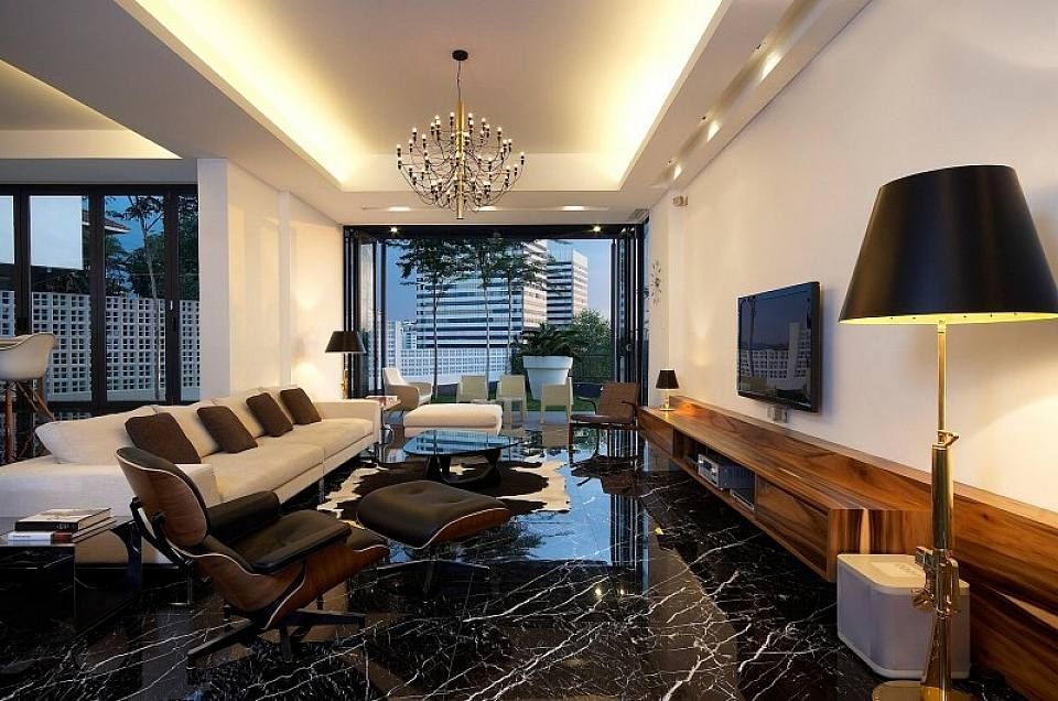 black marble floors give this room a sleek modern