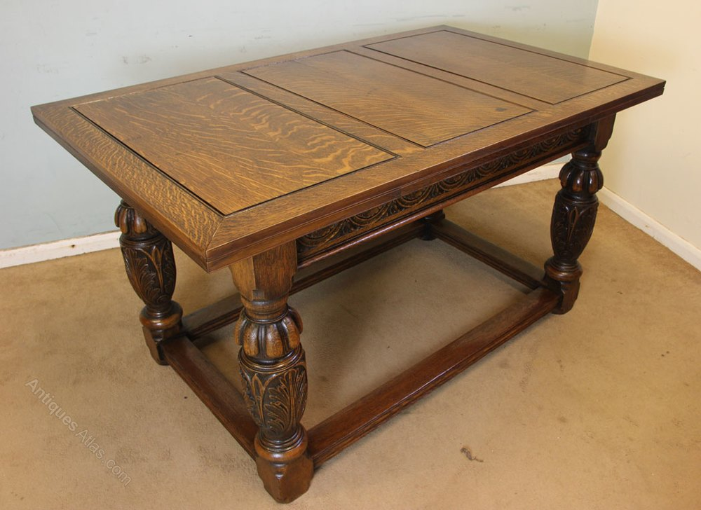 Oak Refectory Draw Leaf Dining Table Antiques Atlas Dining
