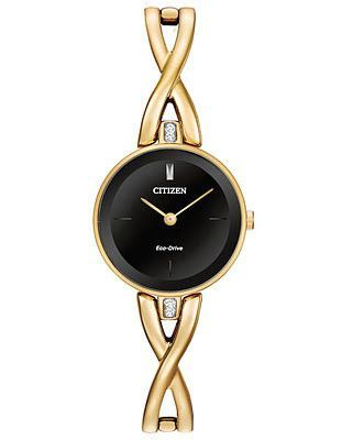 Citizen Eco-Drive Womens Silhouette Crystal - Gold-Tone - Black Dial