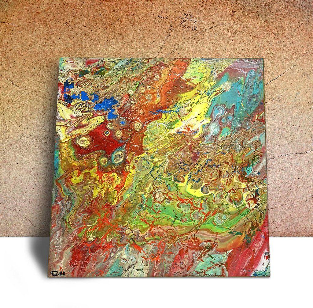 Fluid Acrylic Canvas, Acrylic Pour Art, Small Wall Art, Fluid ...