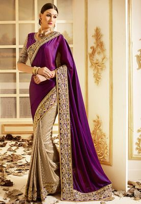 214923b8d1692 Violet embroidered art silk saree with blouse