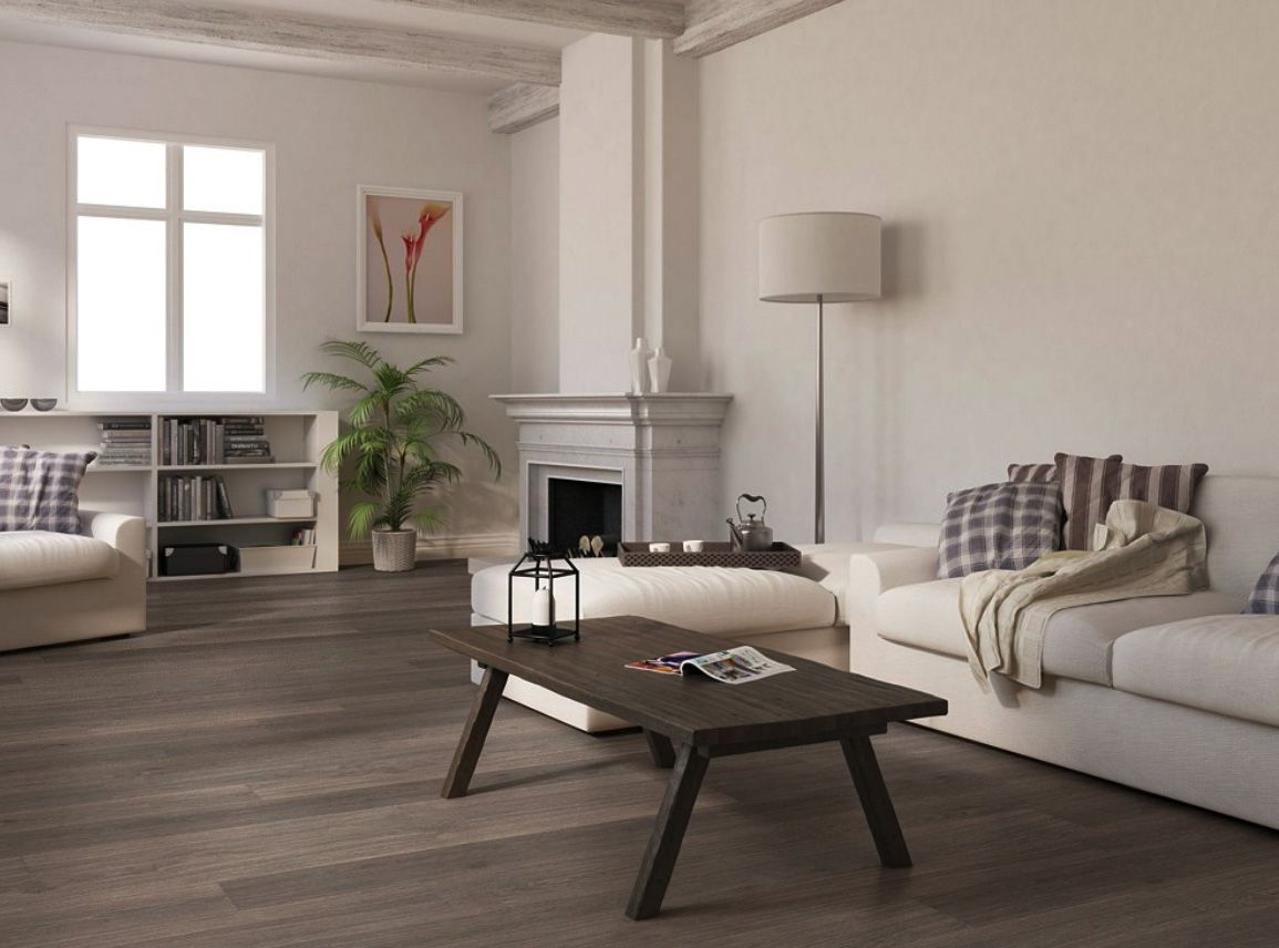 Illustration Of Living Room With Dark Wood Floors