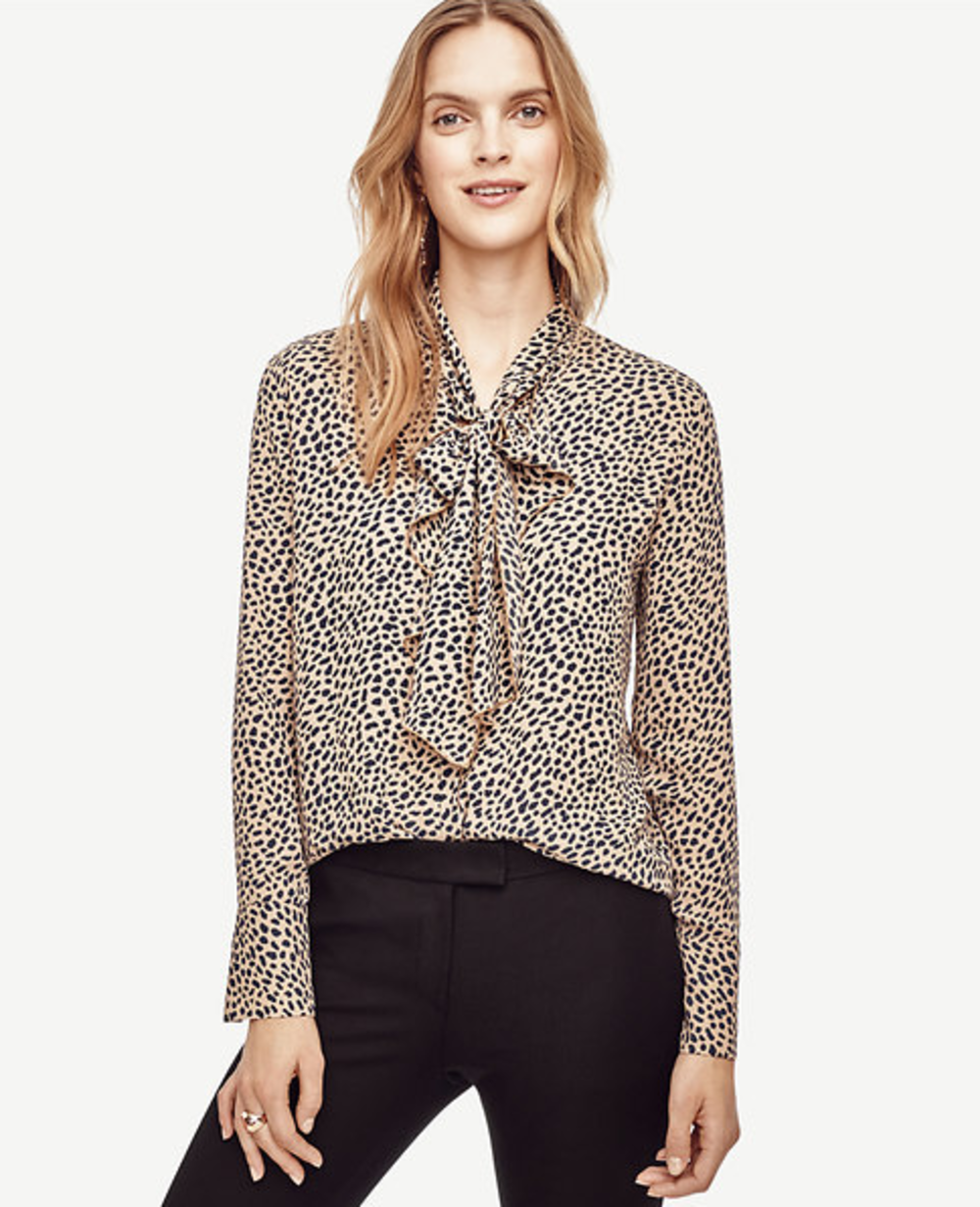 2c3c66fc54d Ann Taylor Spotted Tie Neck Ruffle Blouse   6 Fall Wardrobe Essentials for  Breastfeeding in Style Convenient, comfy and fashionable? Believe it.