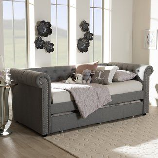 Wholesale Interiors Baxton Studio Mabelle Modern and Contemporary Fabric Daybed with Trundle