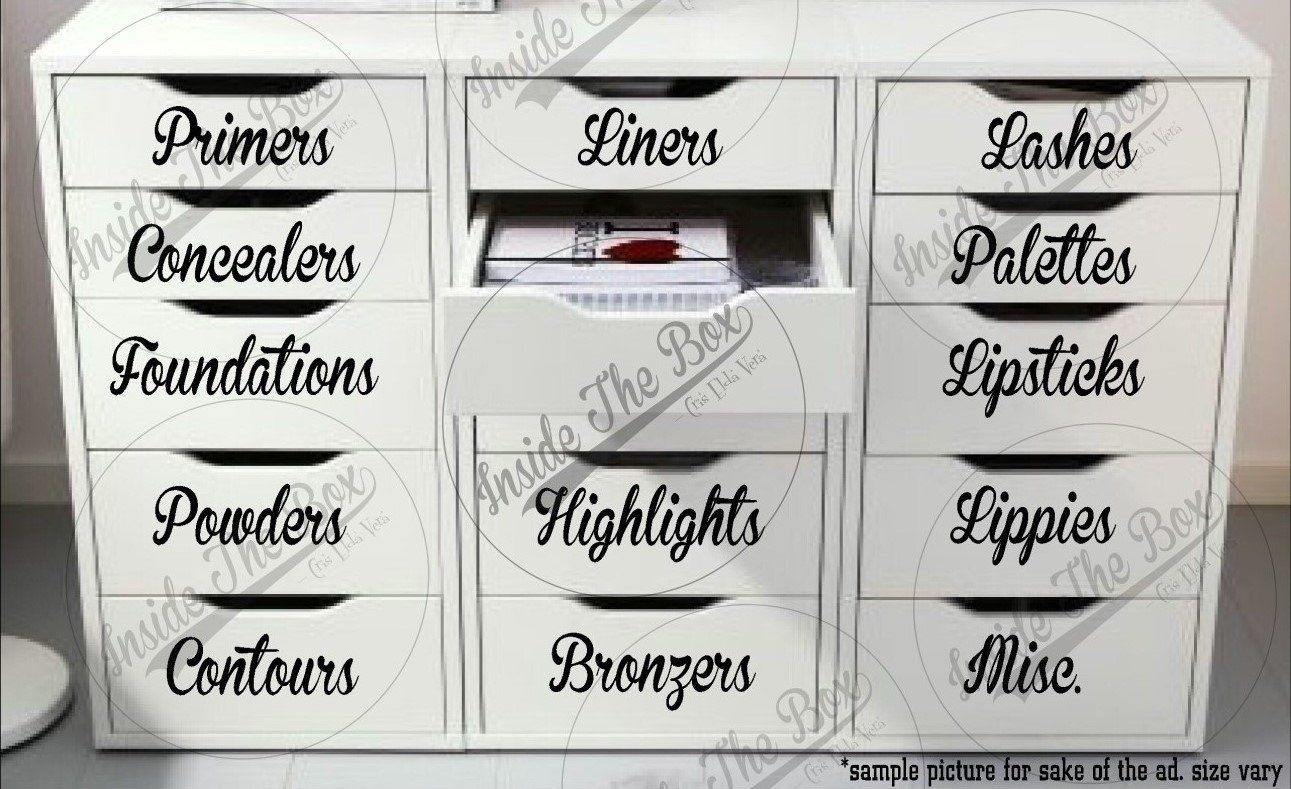 Beauty Label Decals & Custom Made (13 piece set) for Drawers/Dressers/Alex Draws/Glass Draws/Plastic Containers images